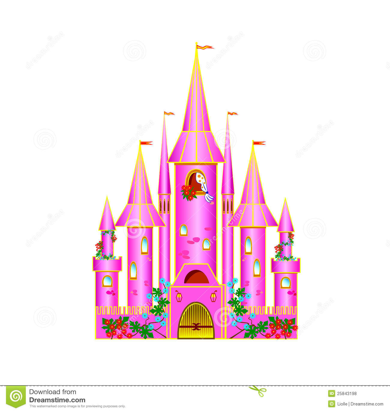 Cartoon Pink Castle Stock Vector. Illustration Of Design
