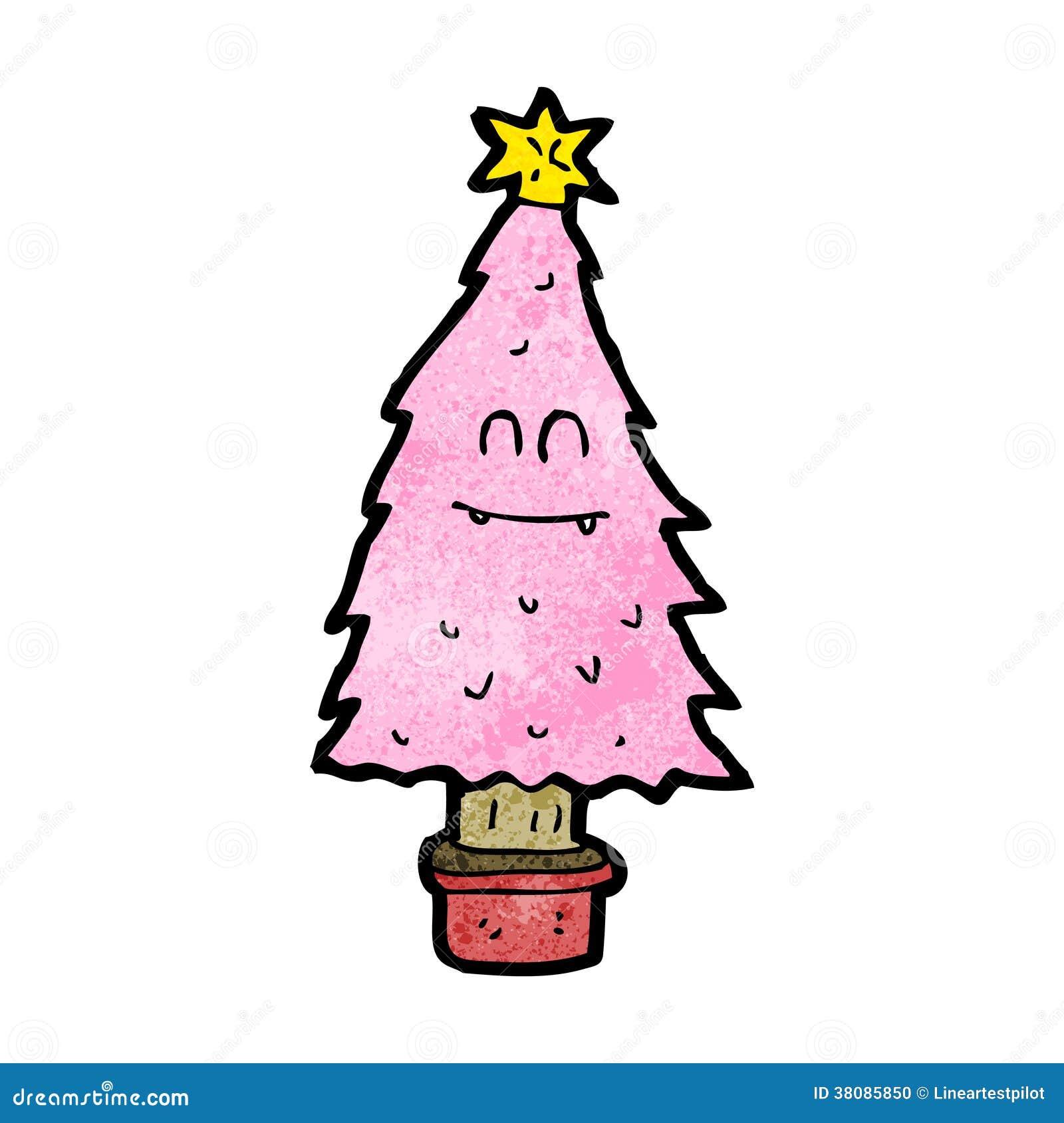 cartoon pink christmas tree stock photo image 38085850