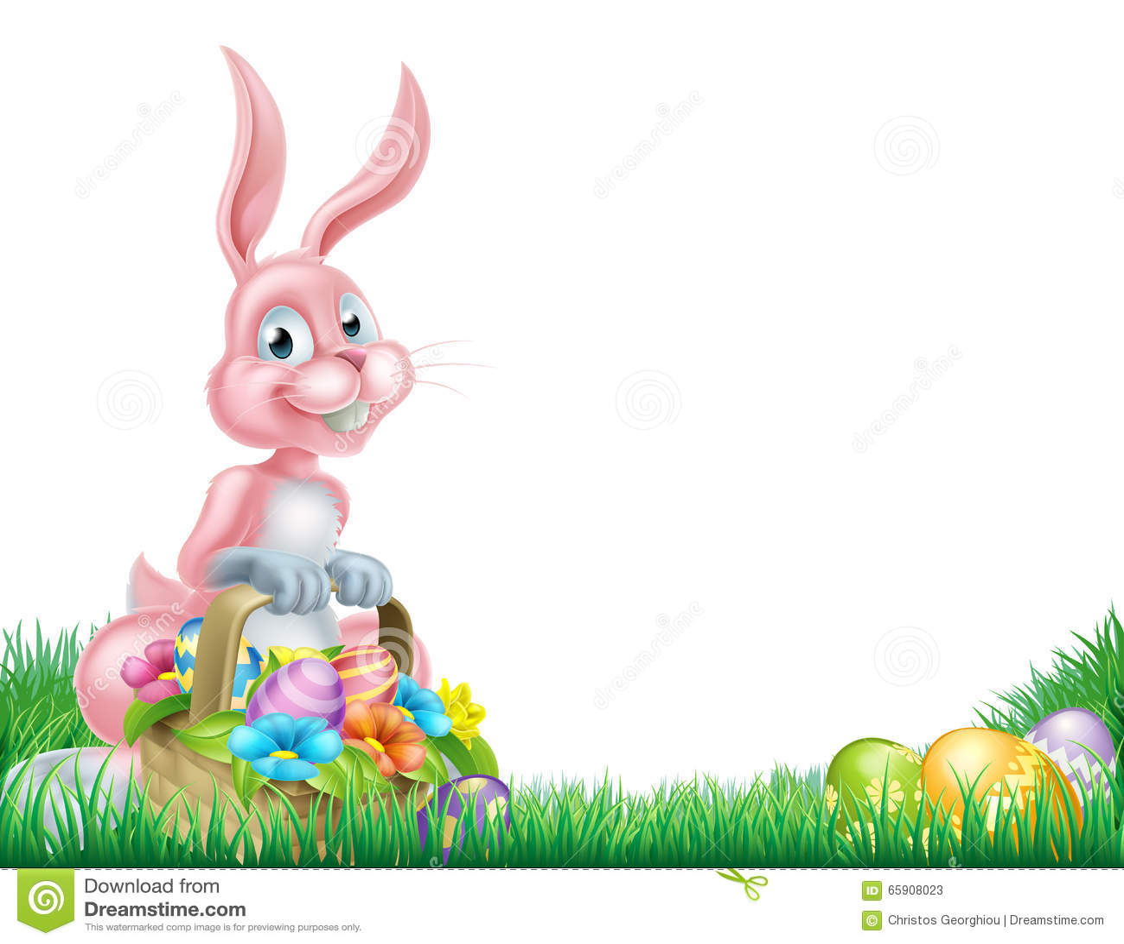 Cartoon Pink Easter Bunny Egg Hunt Stock Vector - Illustration of ... for Easter Egg Hunt Clipart  110ylc