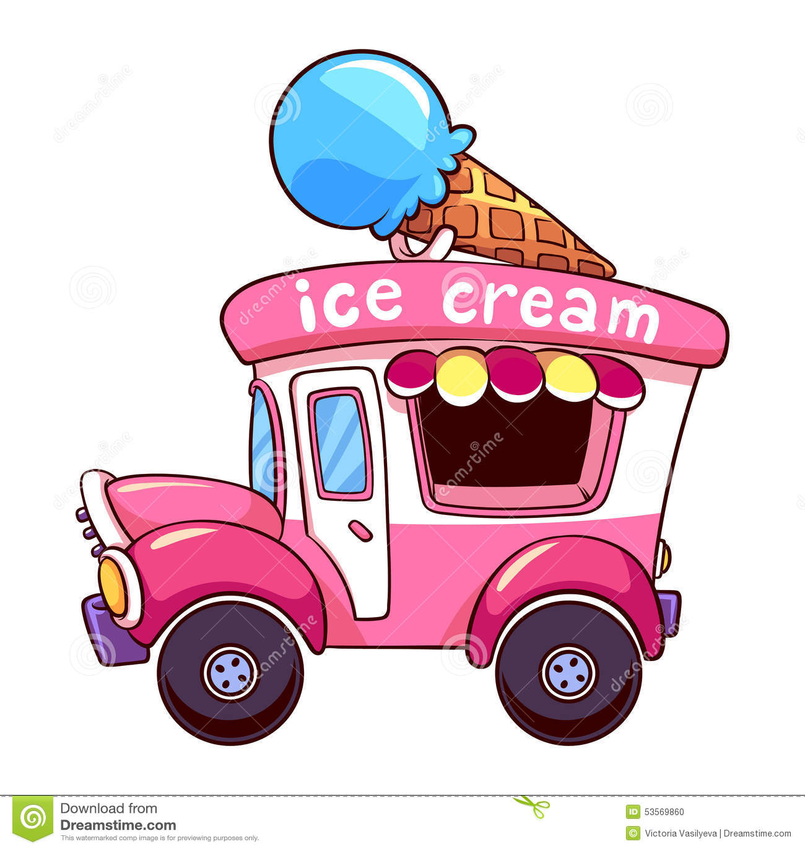 Cartoon Pink Ice Cream Truck On White Background