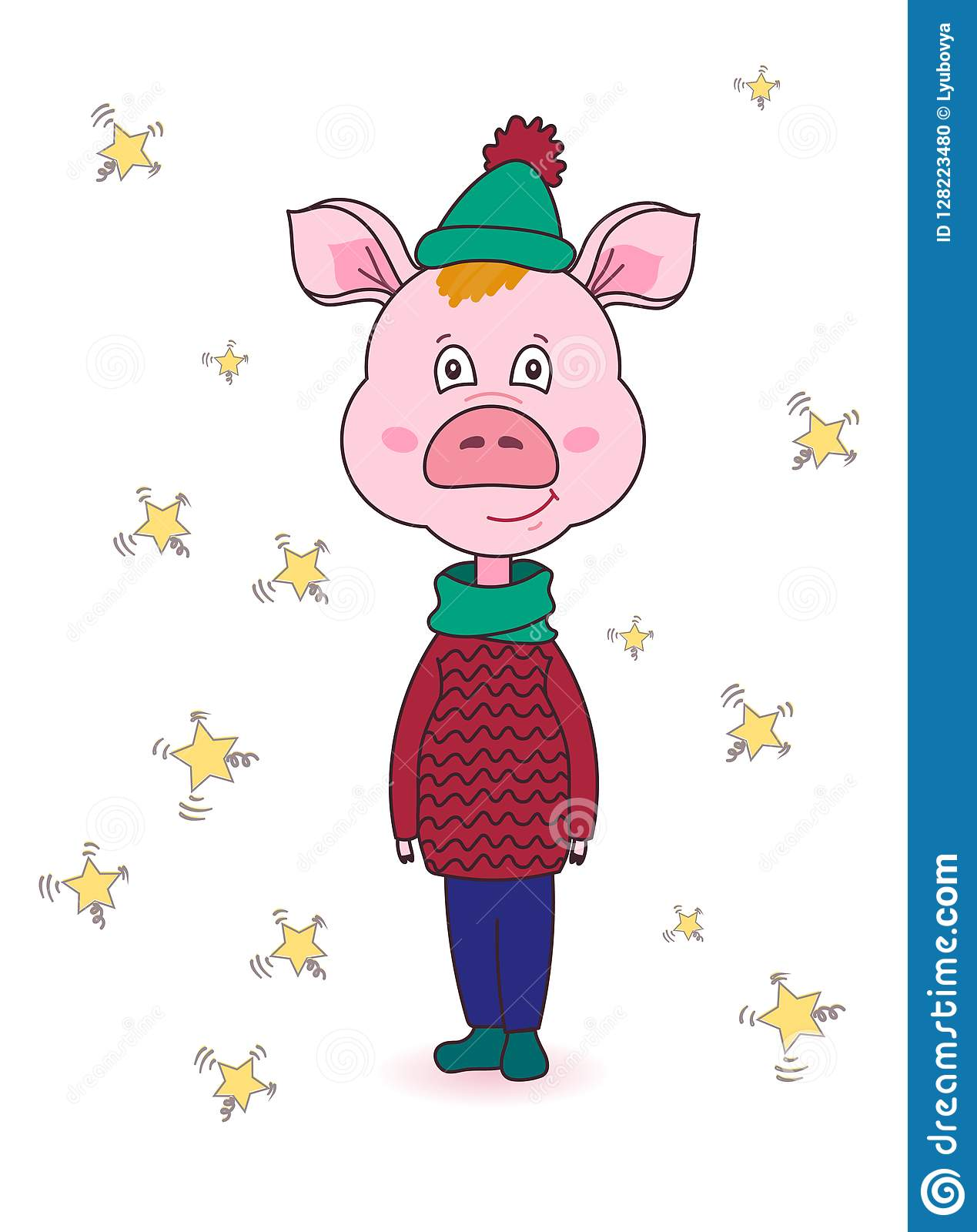 cartoon pink pig in winter clothescute new year characterisolated image