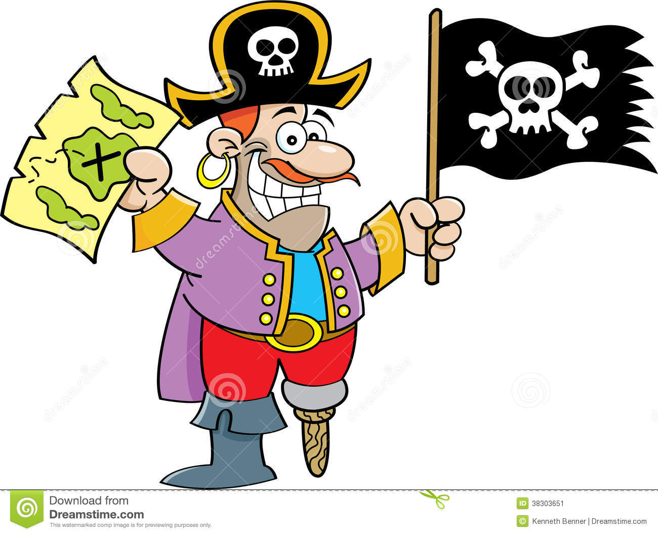 cartoon pirate holding a flag and map stock vector illustration rh dreamstime com  pirate flag clip art free