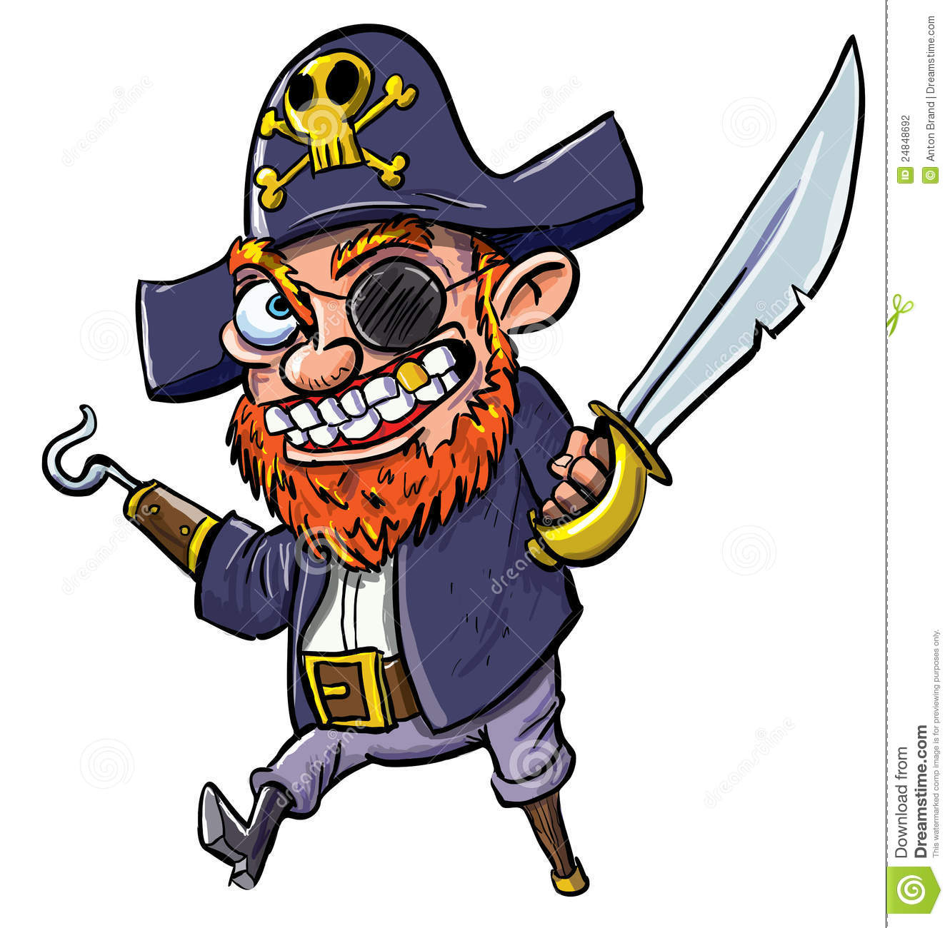 cartoon pirate with a hook and cutlass stock illustration