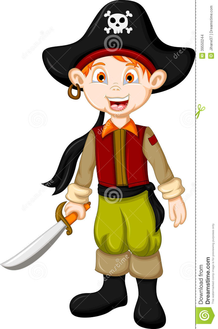 cartoon pirate kid with sword stock illustration