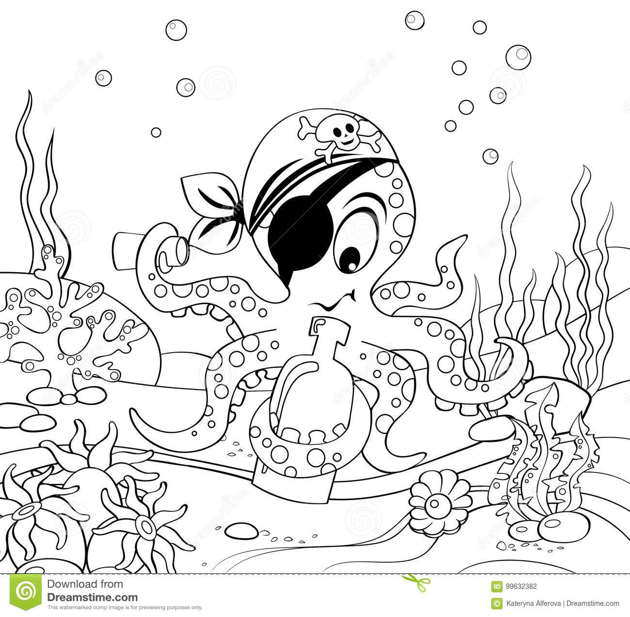Cartoon pirate octopus with bottle. Underwater world. Black and white vector illustration for coloring book