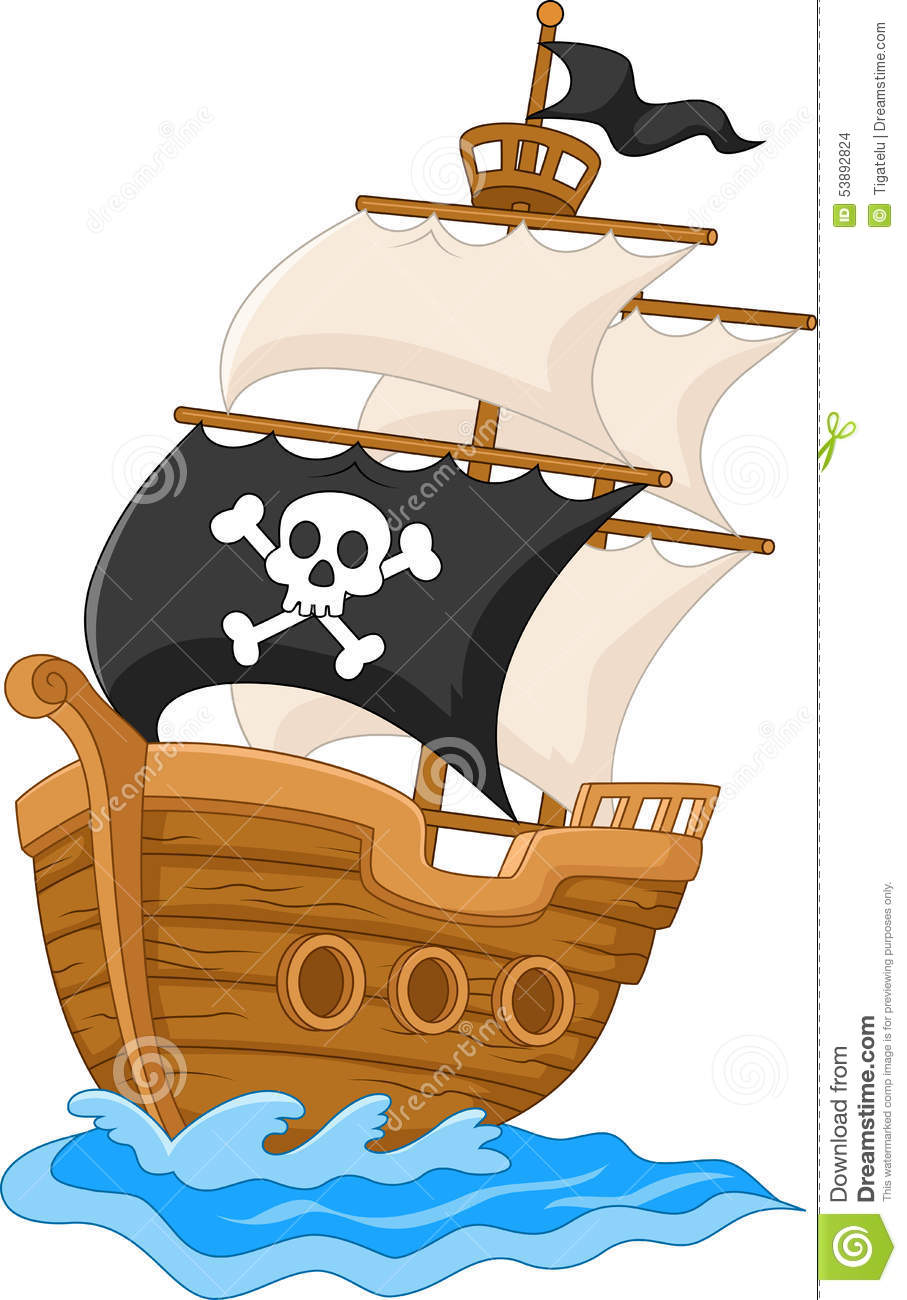 Cartoon Pirate Ship Stock Vector - Image: 53892824