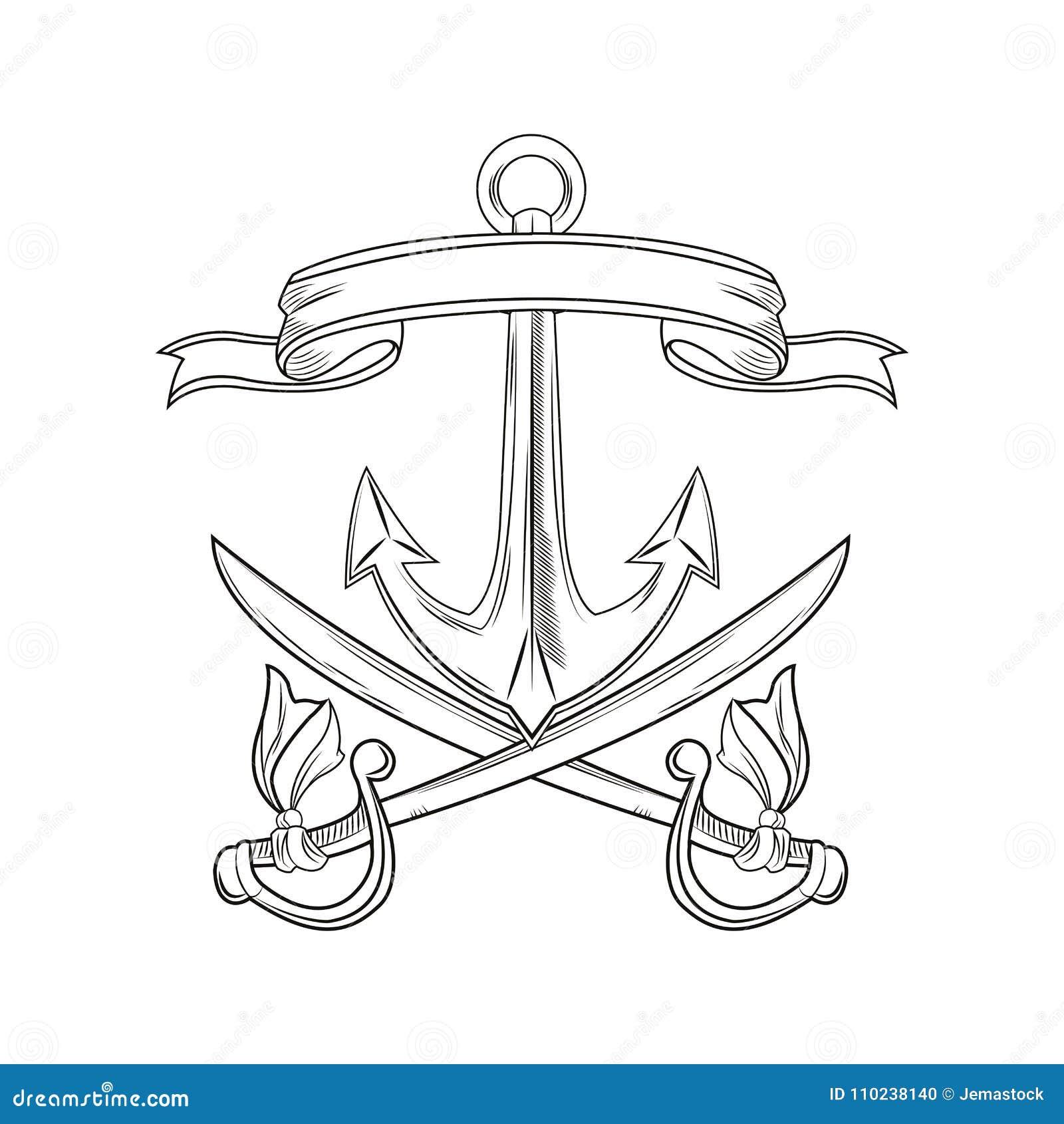 Cartoon Pirate Tattoo Design Stock Vector Illustration Of Studio
