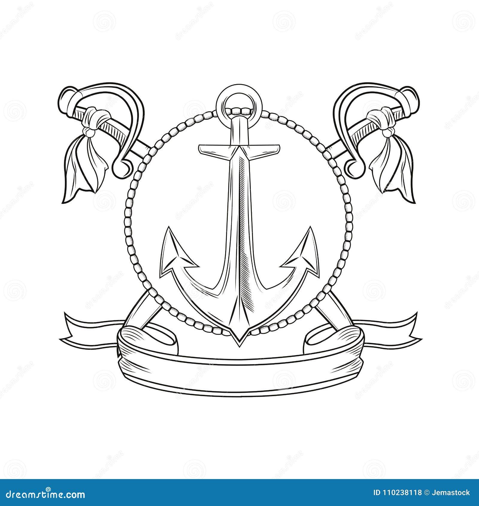 b29326ebc Anchor sword ribbon seal stamp cartoon pirate tattoo marine nautical icon.  Black white isolated design. Vector illustration