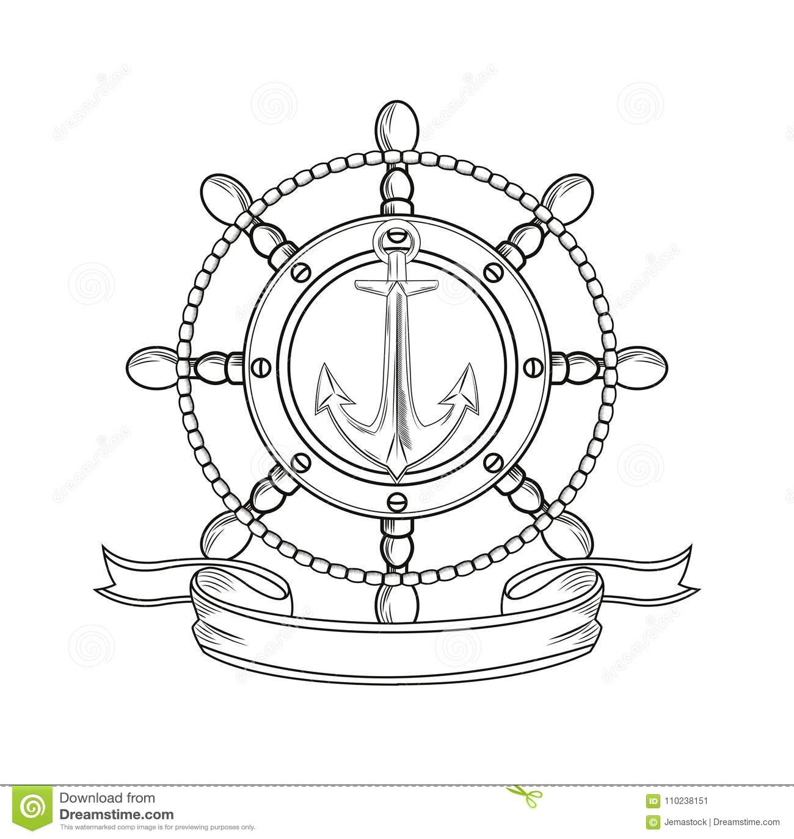 92a1e263d Rudder anchor ribbon cartoon pirate tattoo marine nautical icon. Black  white isolated design. Vector illustration. More similar stock illustrations