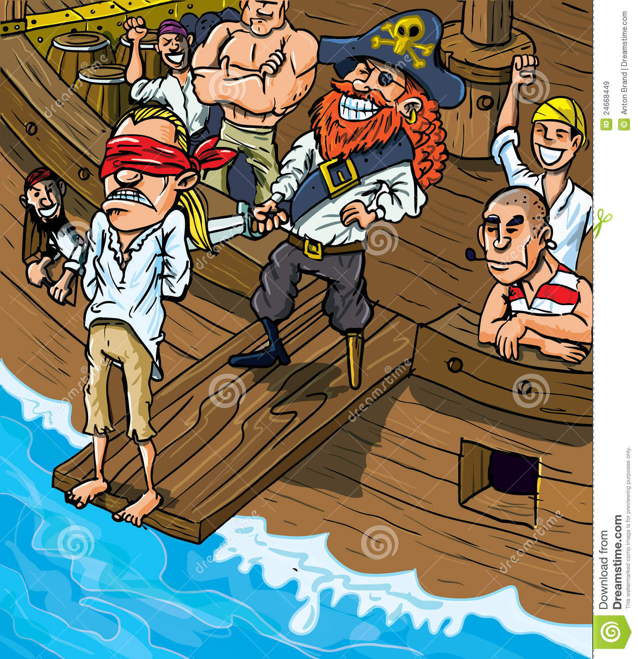 Cartoon Pirate Walking The Plank Royalty Free Stock Images - Image ...