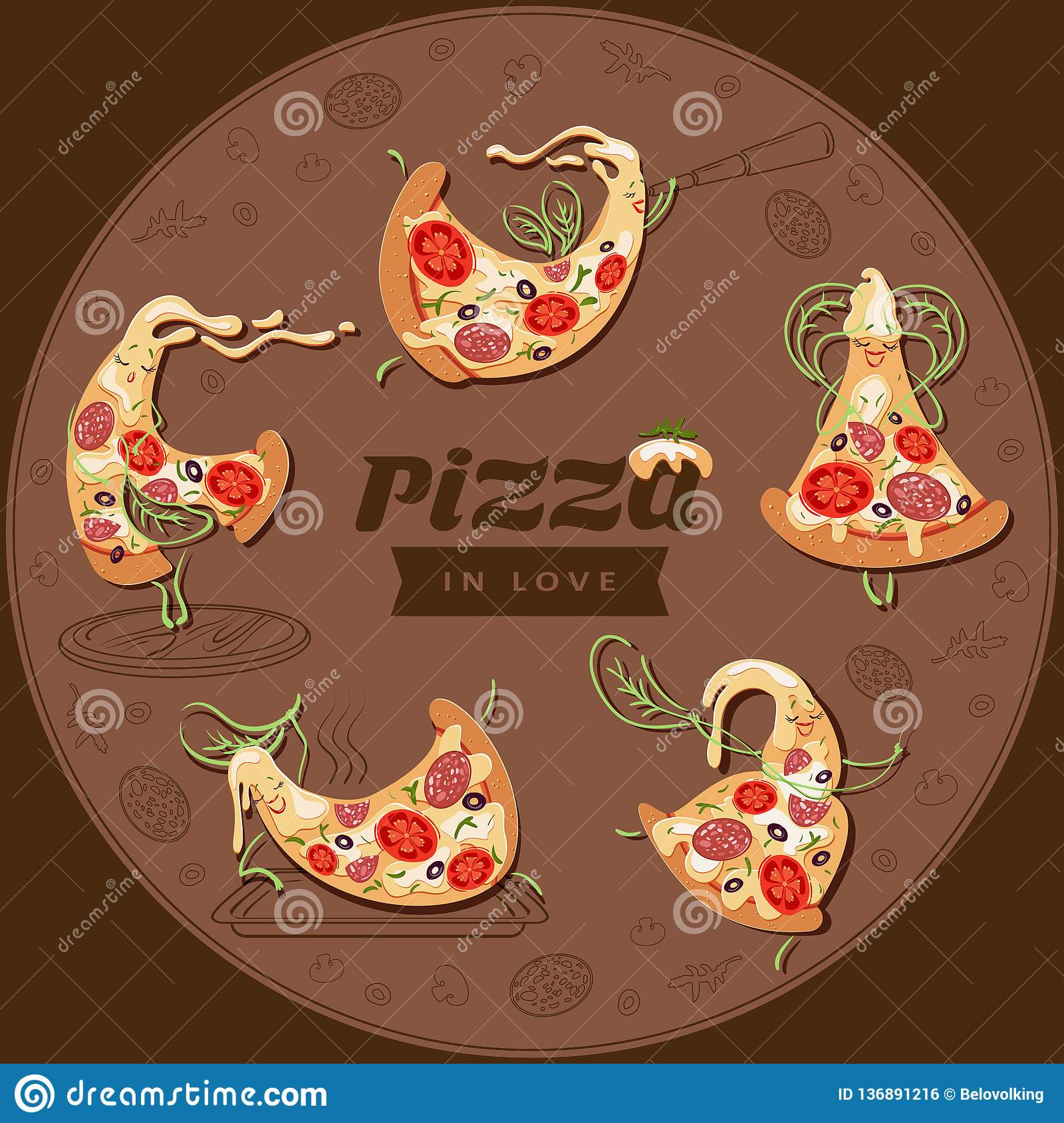 Cartoon pizza characters slices. Set of five cute lovers pizzas.