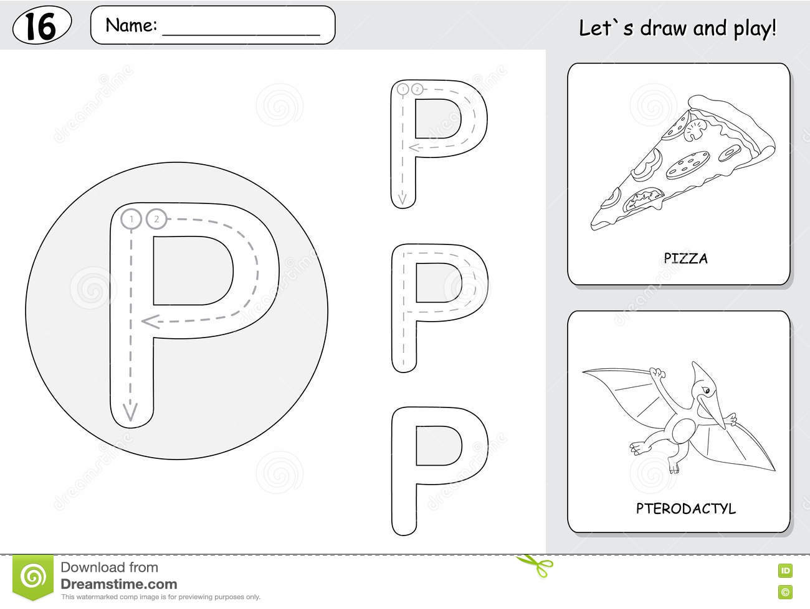 Cartoon Pizza And Pterodactyl. Alphabet Tracing Worksheet