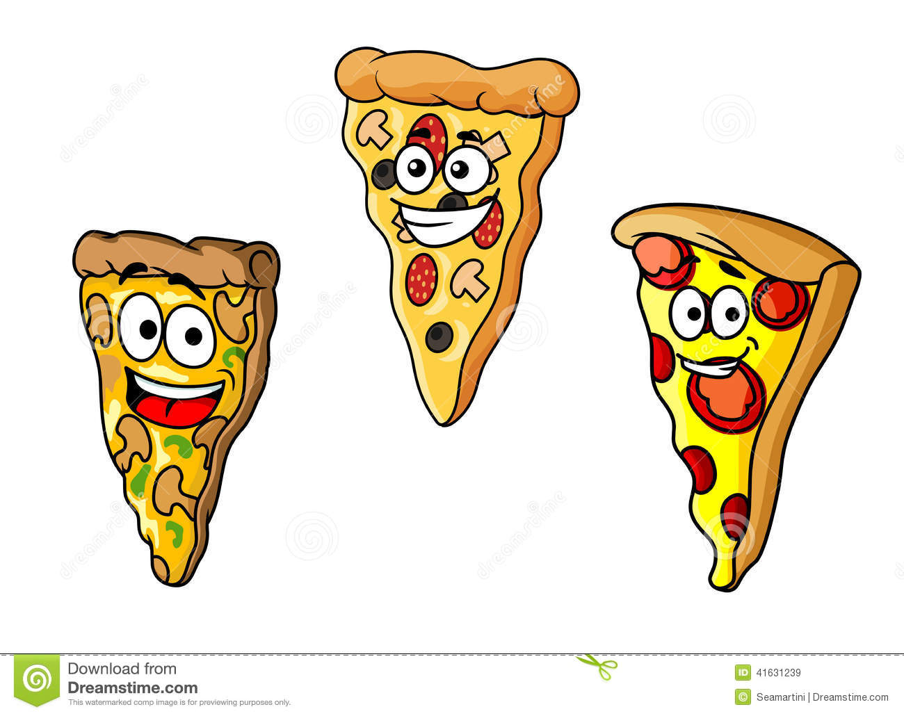 how to draw a cartoon pizza slice