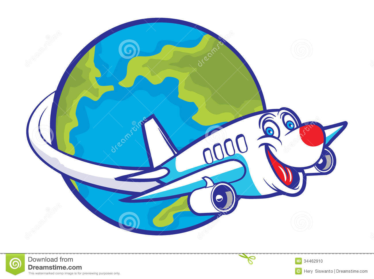 Cartoon Plane Flying Around The Globe Stock Photo - Image: 34462910