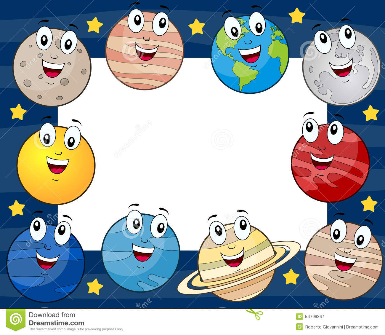Cartoon Planets Horizontal Photo Frame Stock Vector - Image: 54799867