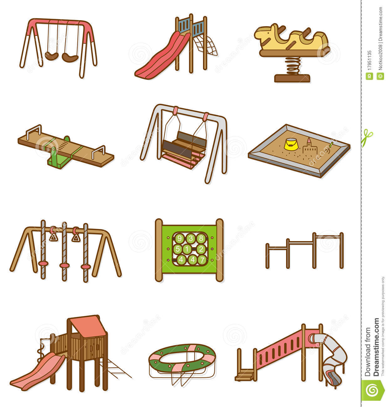 Cartoon playground icon stock vector illustration of for Seesaw plans designs