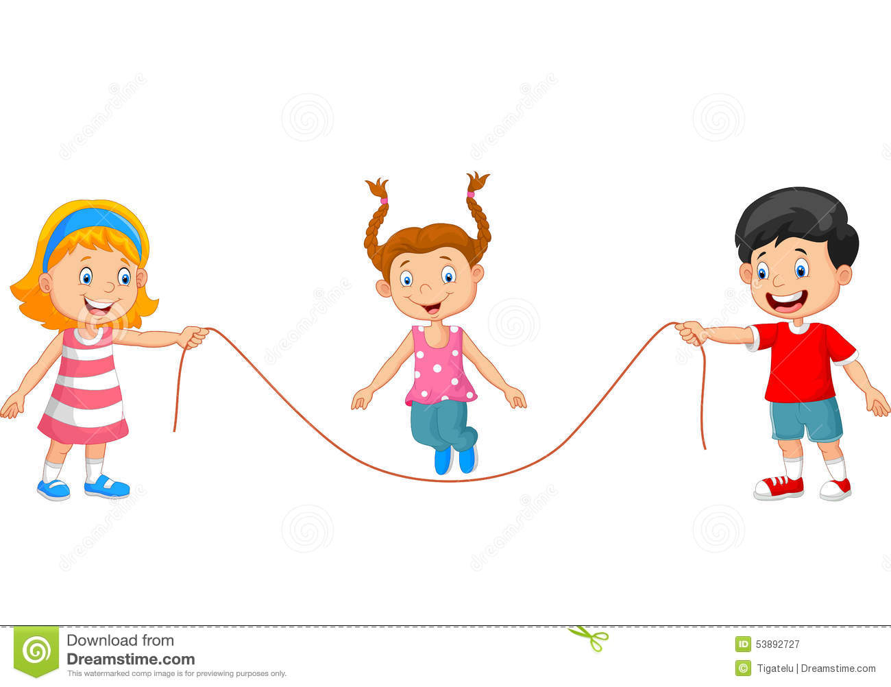 Cartoon Playing Jump Rope Stock Vector - Image: 53892727
