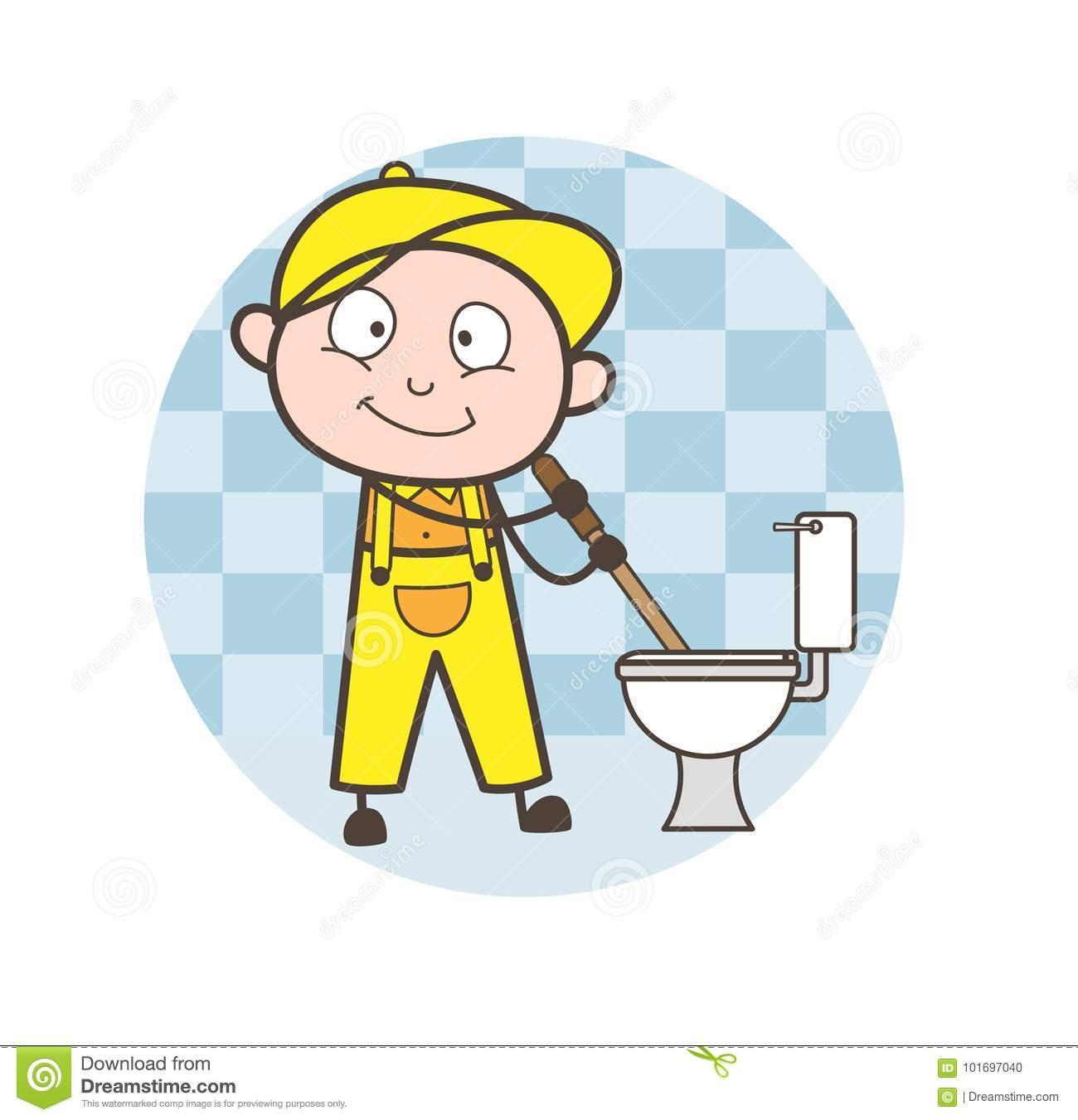 Cartoon Plumber Cleaning Toilet Seat And Bathroom Vector