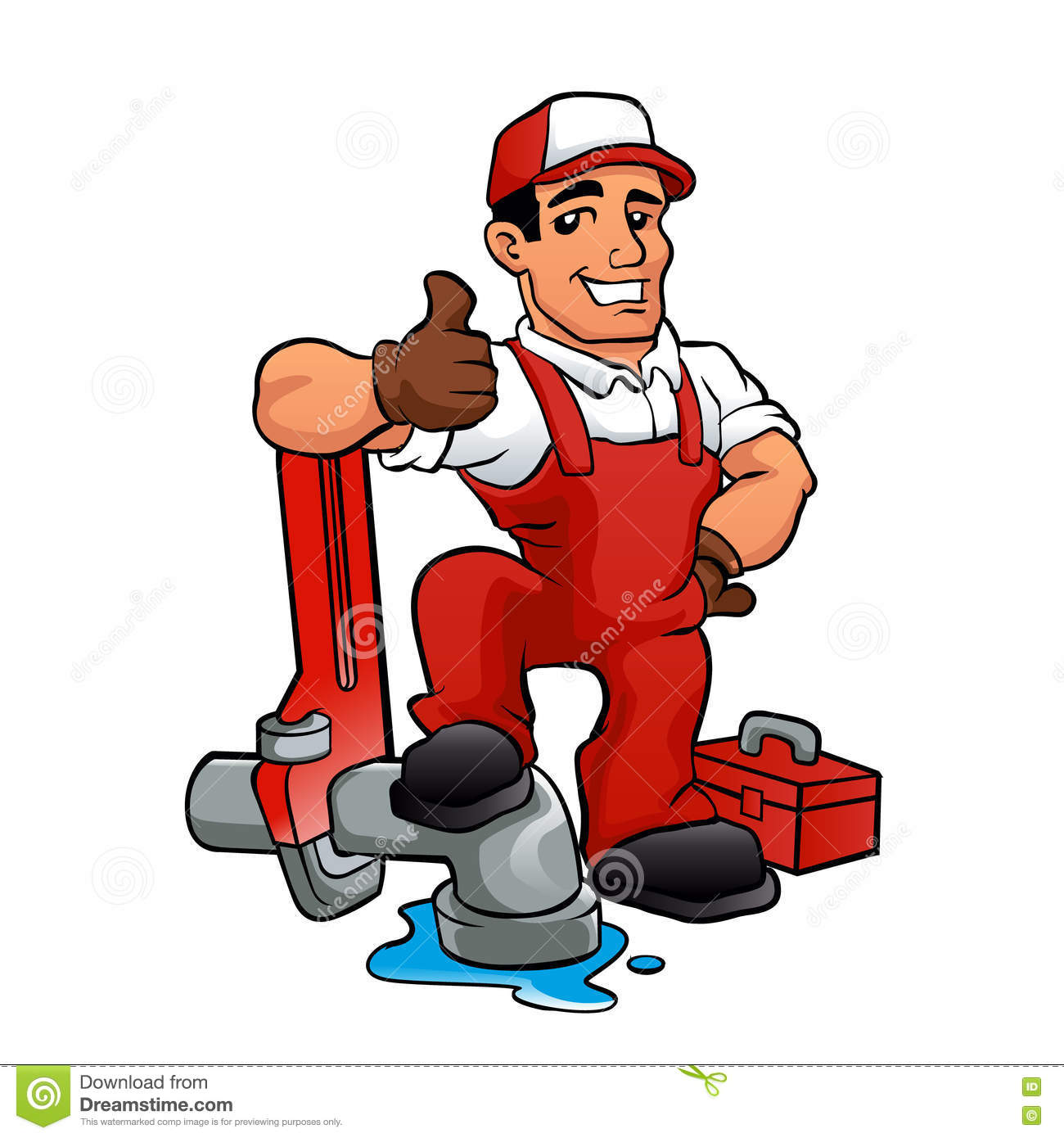 Cartoon Plumber Holding A Big Wrench Stock Vector