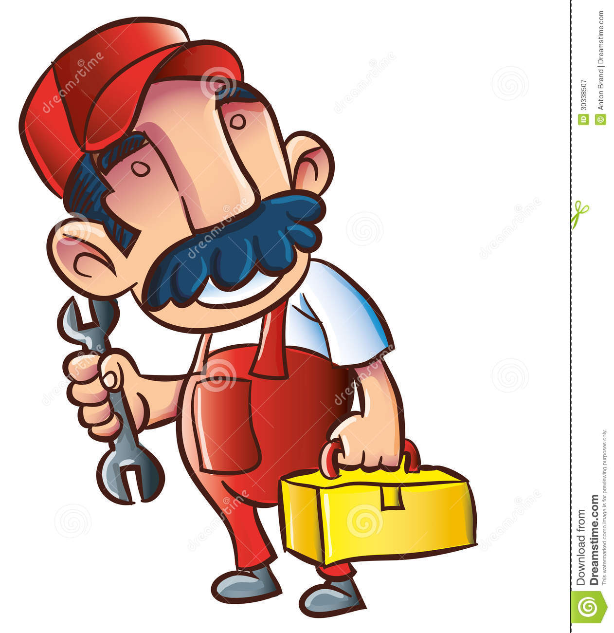 Cartoon Plumber With Wrench And Toolkit Royalty Free Stock ...