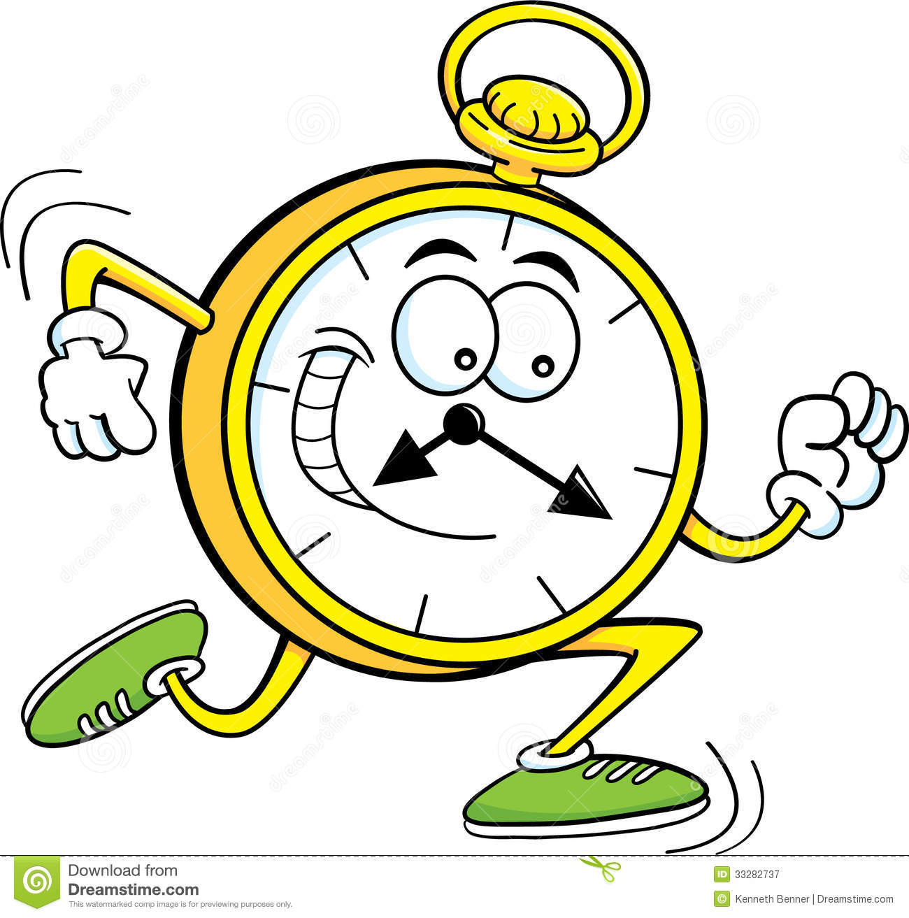 cartoon pocket watch stock vector illustration of cartoon 33282737 rh dreamstime com running clock clip art Wall Clock Clip Art