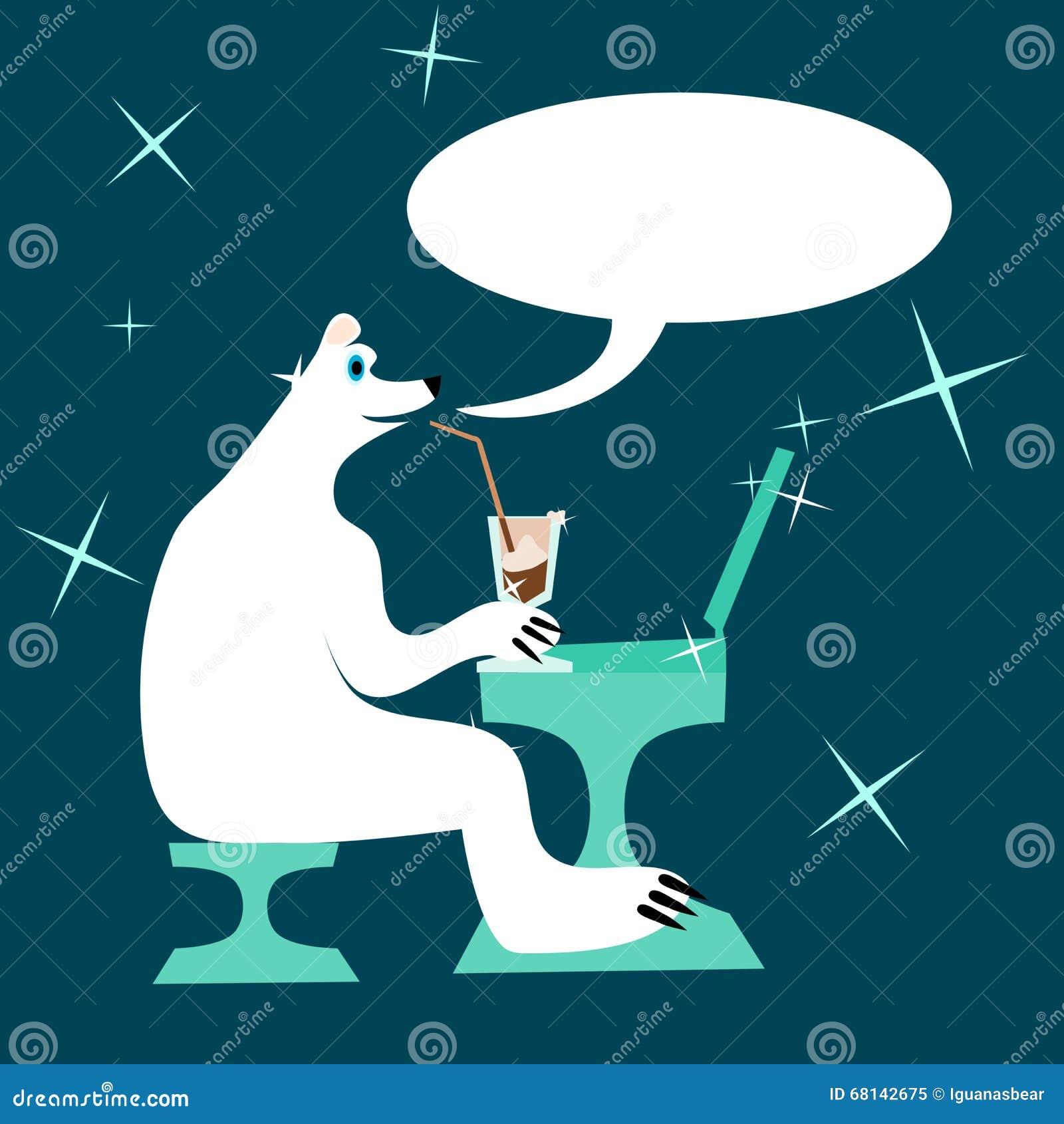 Cartoon Polar Bear Drinking Iced Coffee And Writing To
