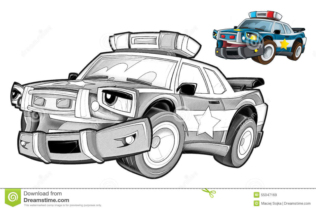 Cartoon Police Car Caricature Coloring Page Stock Illustration Illustration Of Page Moving 55047169