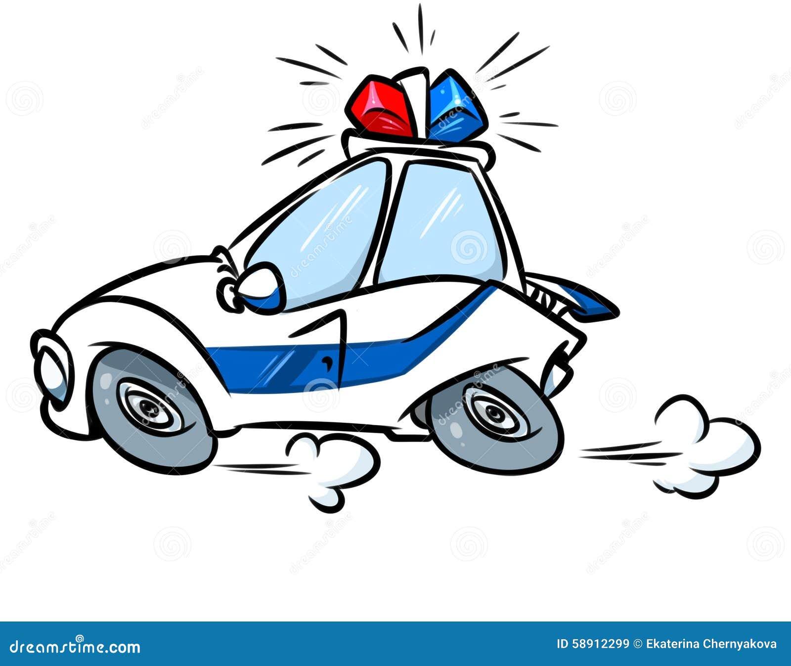 Cartoon Police Car Siren Illustration Stock Illustration