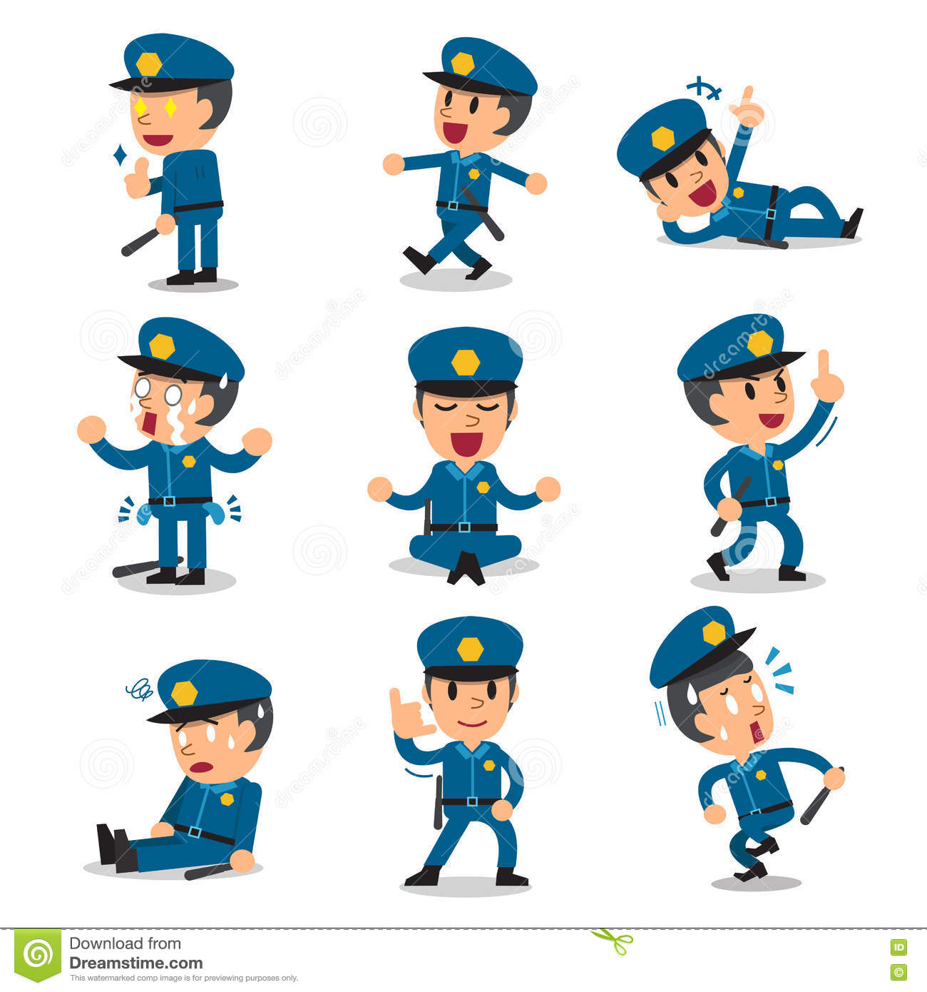 Cartoon Character Design Vector : Cartoon policeman character poses vector