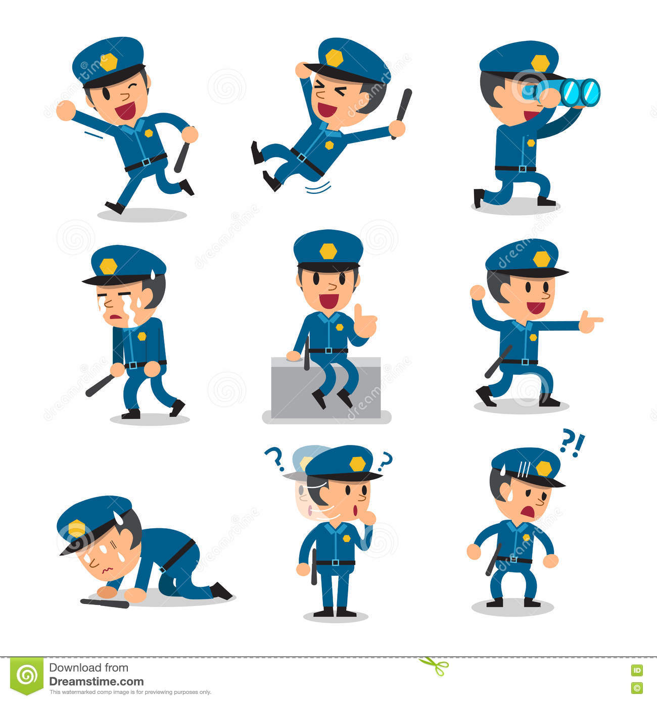 Character Design Job Description : Cartoon policeman character poses vector
