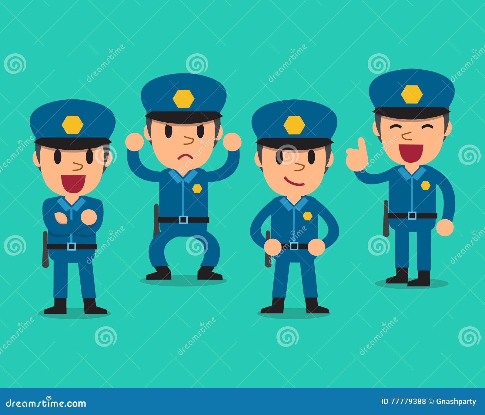 Character Design Artist Job Description : Cartoon policeman character poses vector