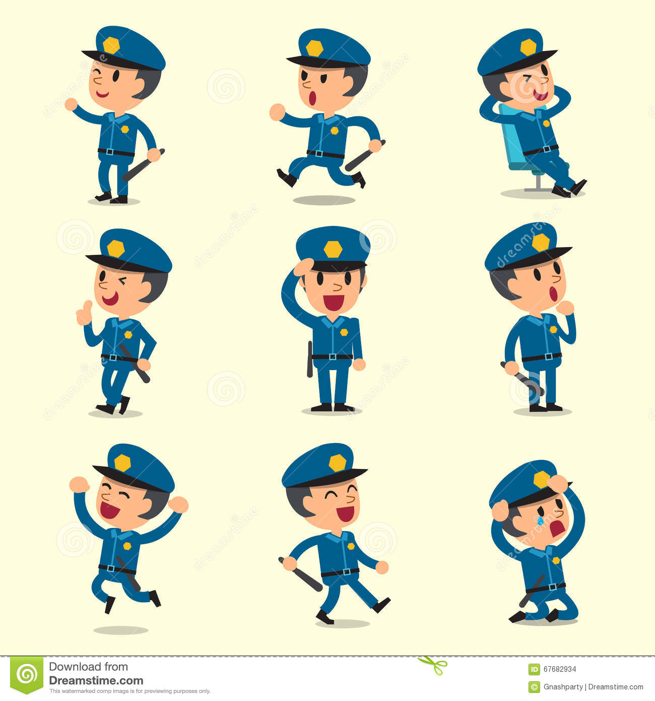 Character Design Background : Cartoon policeman character poses on yellow background