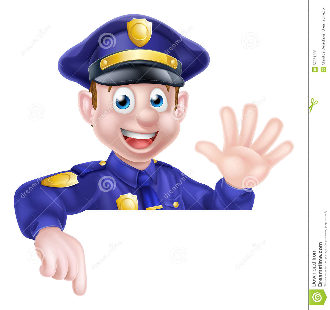 cartoon policeman pointing stock vector image 57861222 clip art police officer and convict police officer clipart