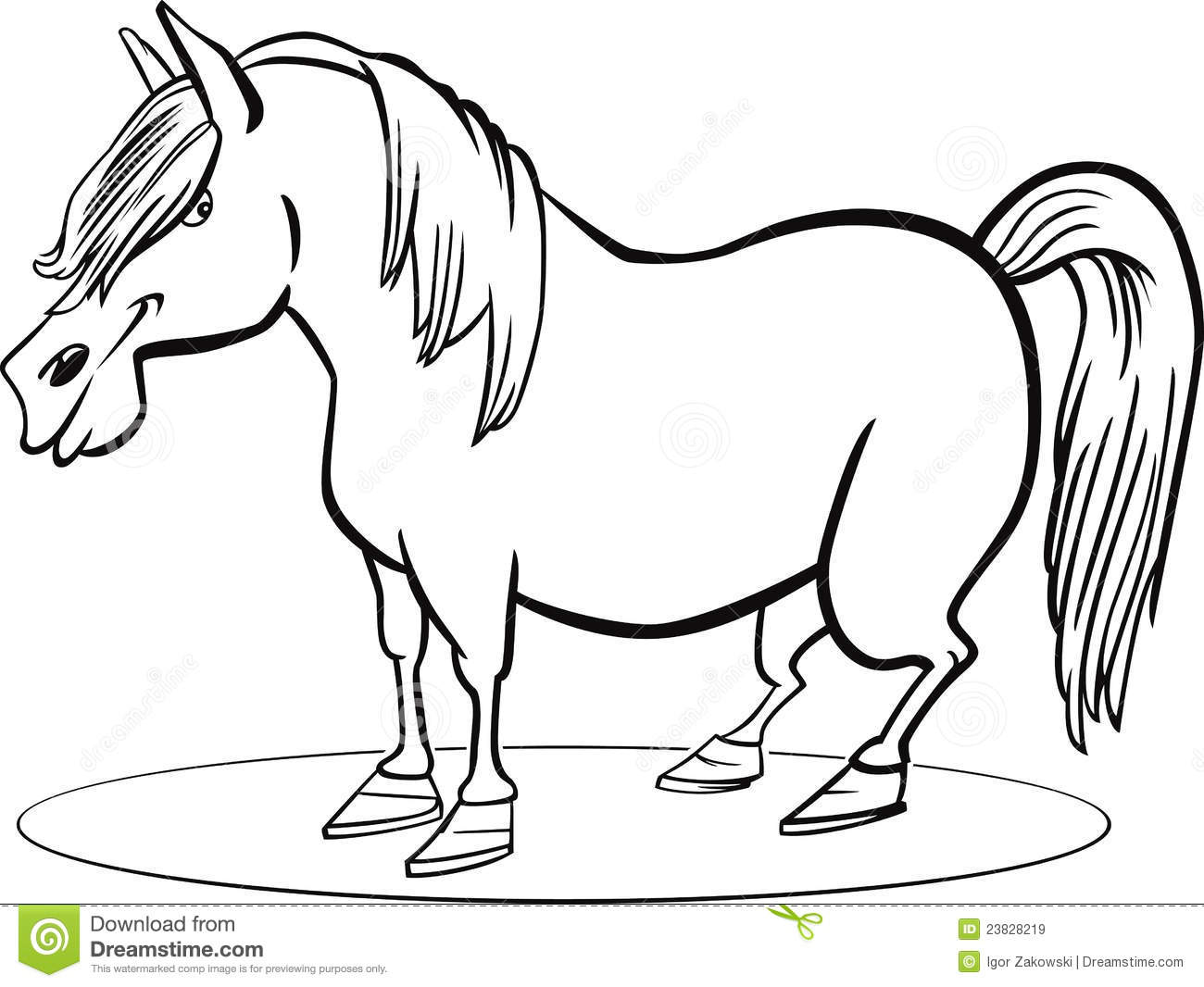 Cartoon Pony Horse Coloring Page Stock Vector Illustration Of
