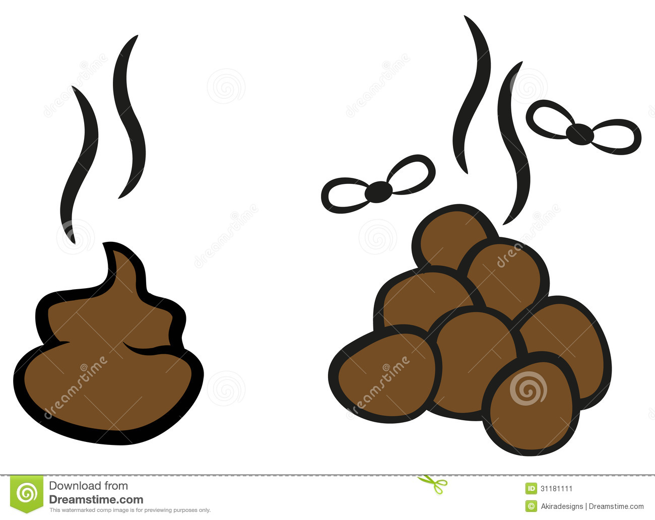 Cartoon Poop With Flies Stock Image - Image: 31181111