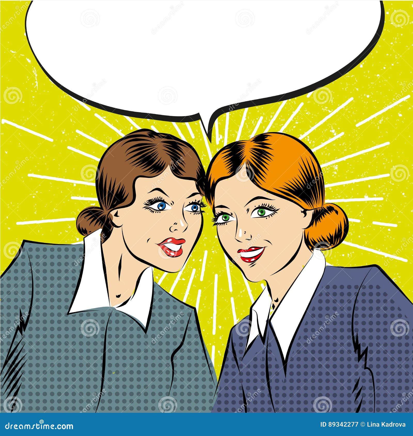 Cartoon pop art comic business women having a conversation