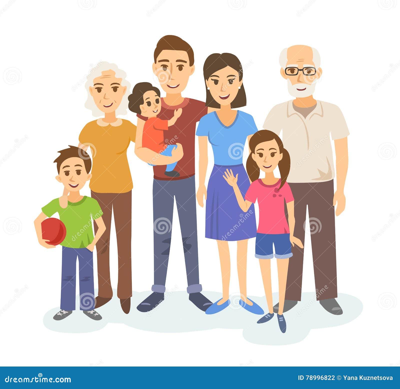 Cartoon Portrait Of Big Family Stock Vector - Illustration ...