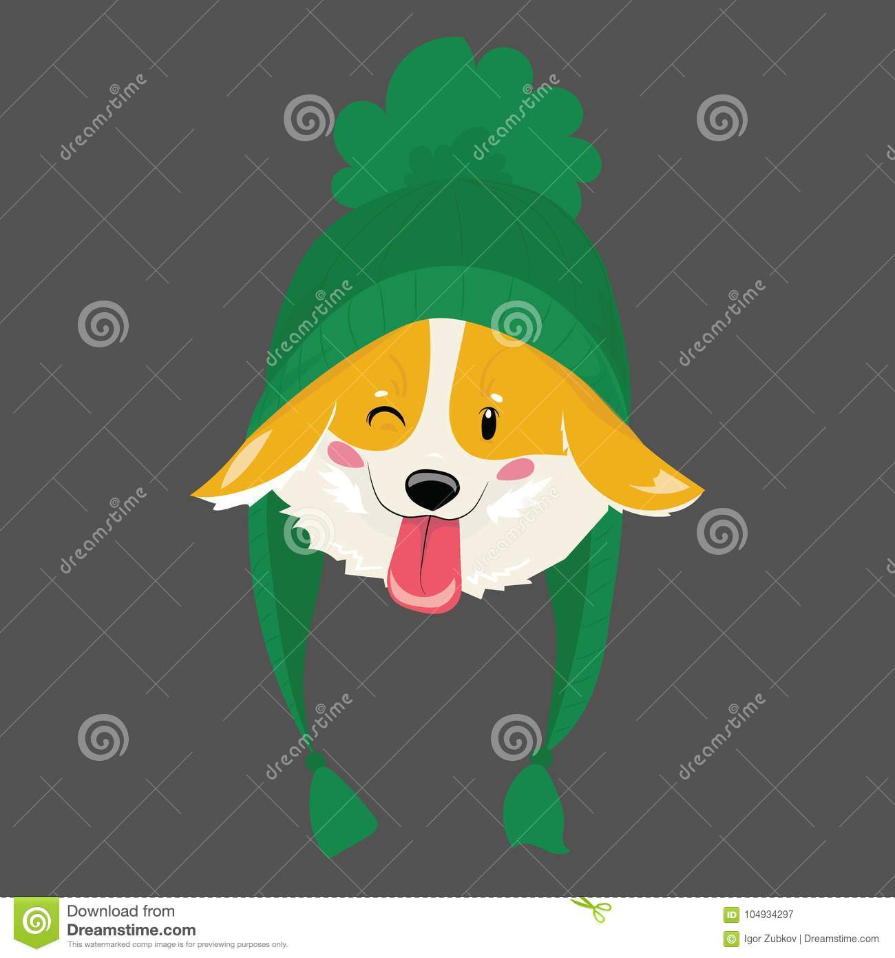 Cartoon portrait of a dog in a hat. Christmas cute dog. The symbol of the year. Vector illustration for a greeting card.