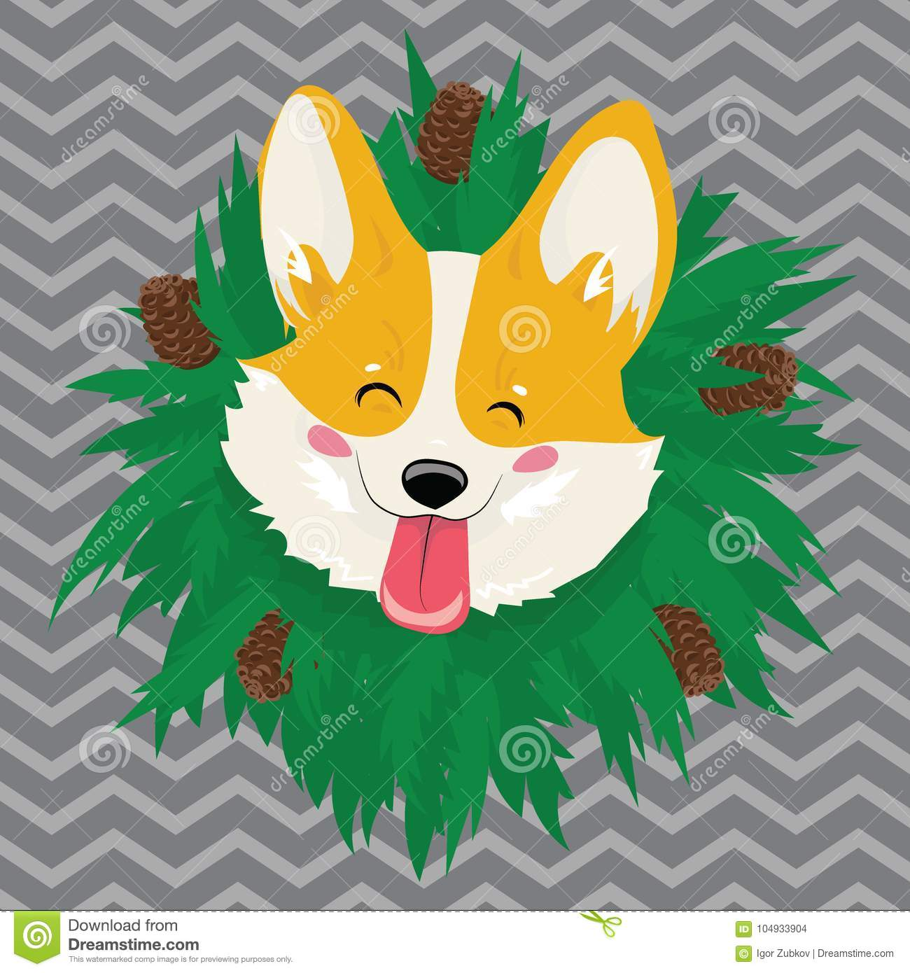 Cartoon portrait of a dog with a wreath. Christmas cute dog. The symbol of the year. Vector illustration for a greeting