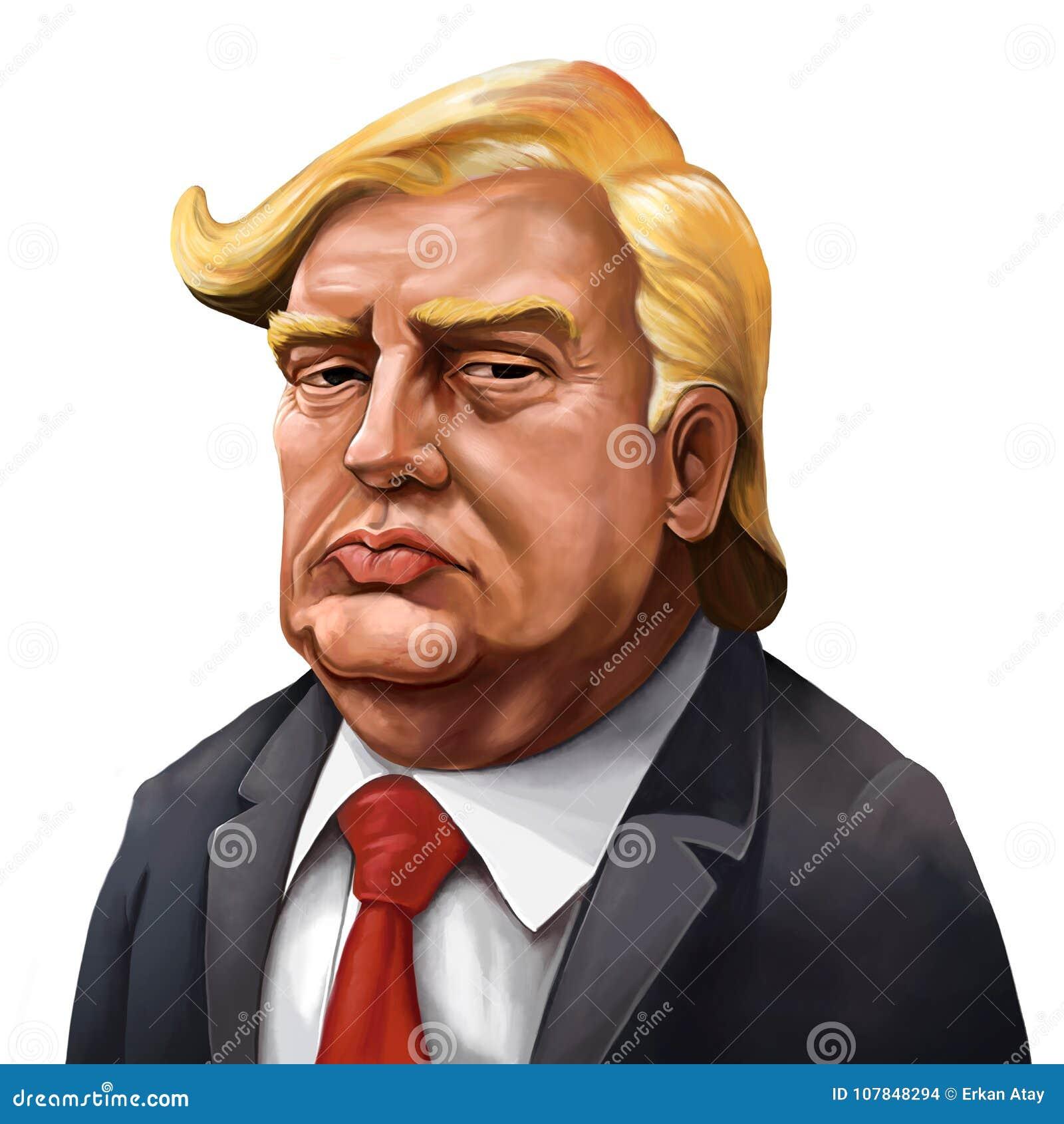 Cartoon Portrait of Donald Trump - Illustrated by Erkan Atay