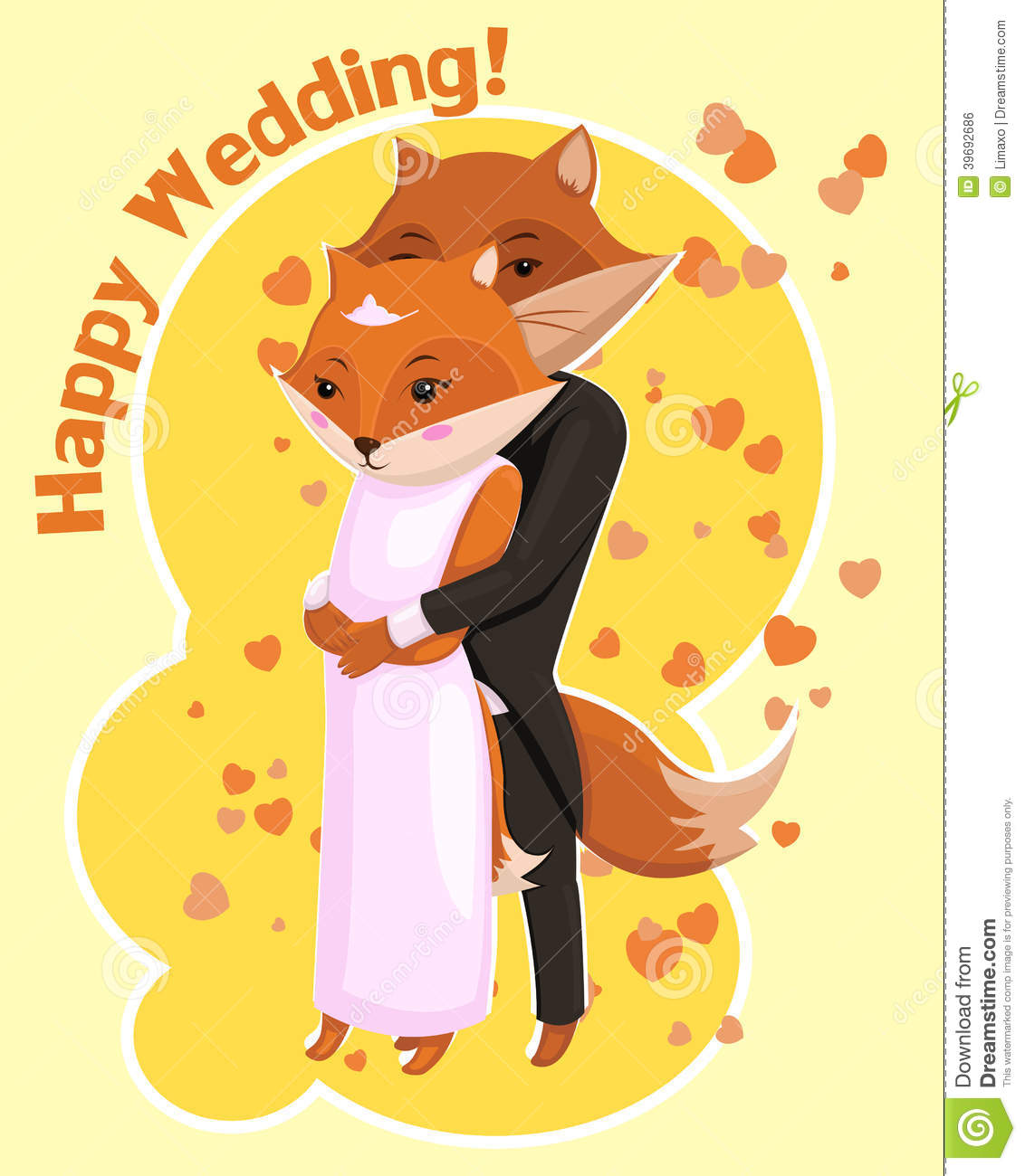 Cartoon Postcard For Wedding With Cute Foxes Stock Vector