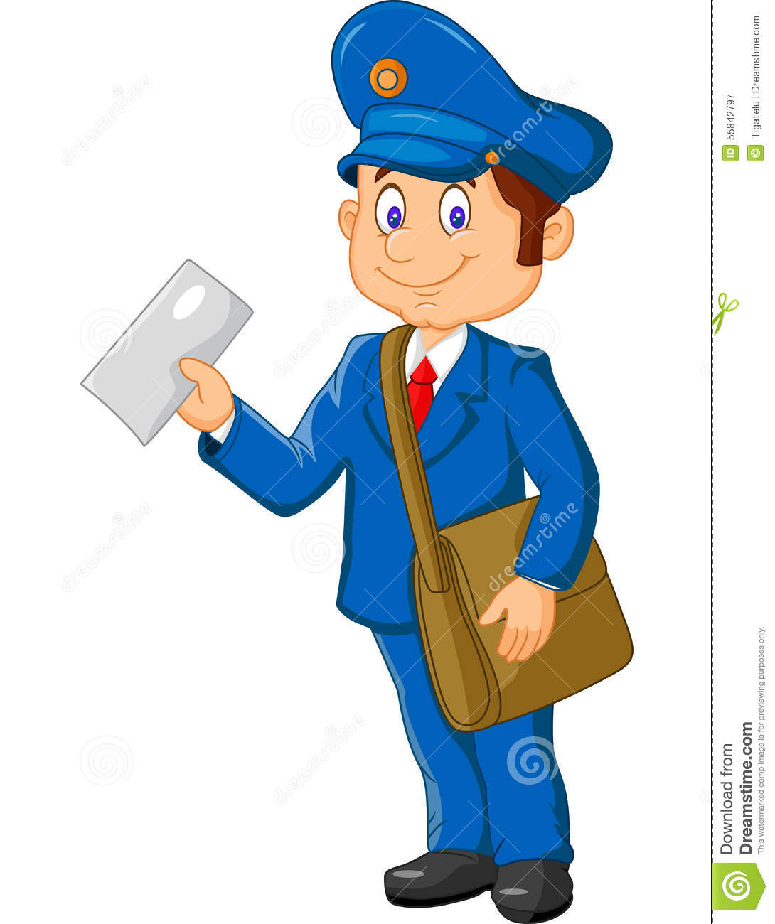 Cartoon Postman Holding Mail And Bag Stock Vector Image