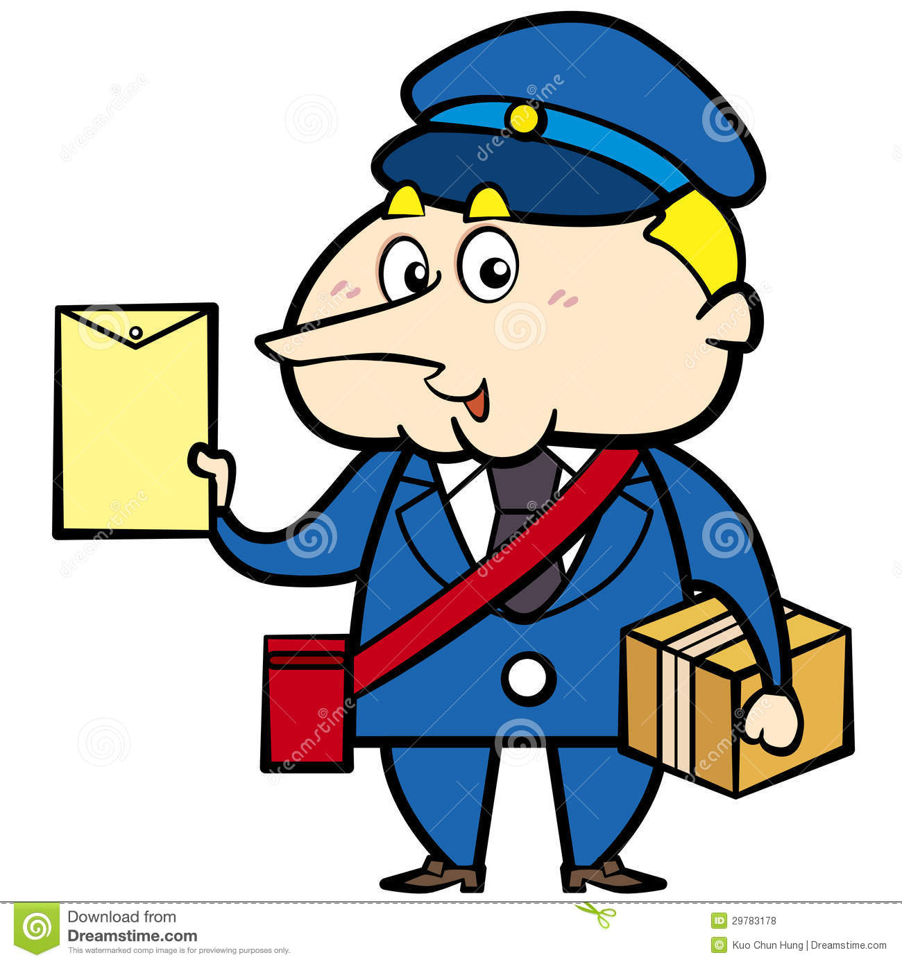 Cartoon Postman With Letter And Package Royalty Free Stock Photos ...