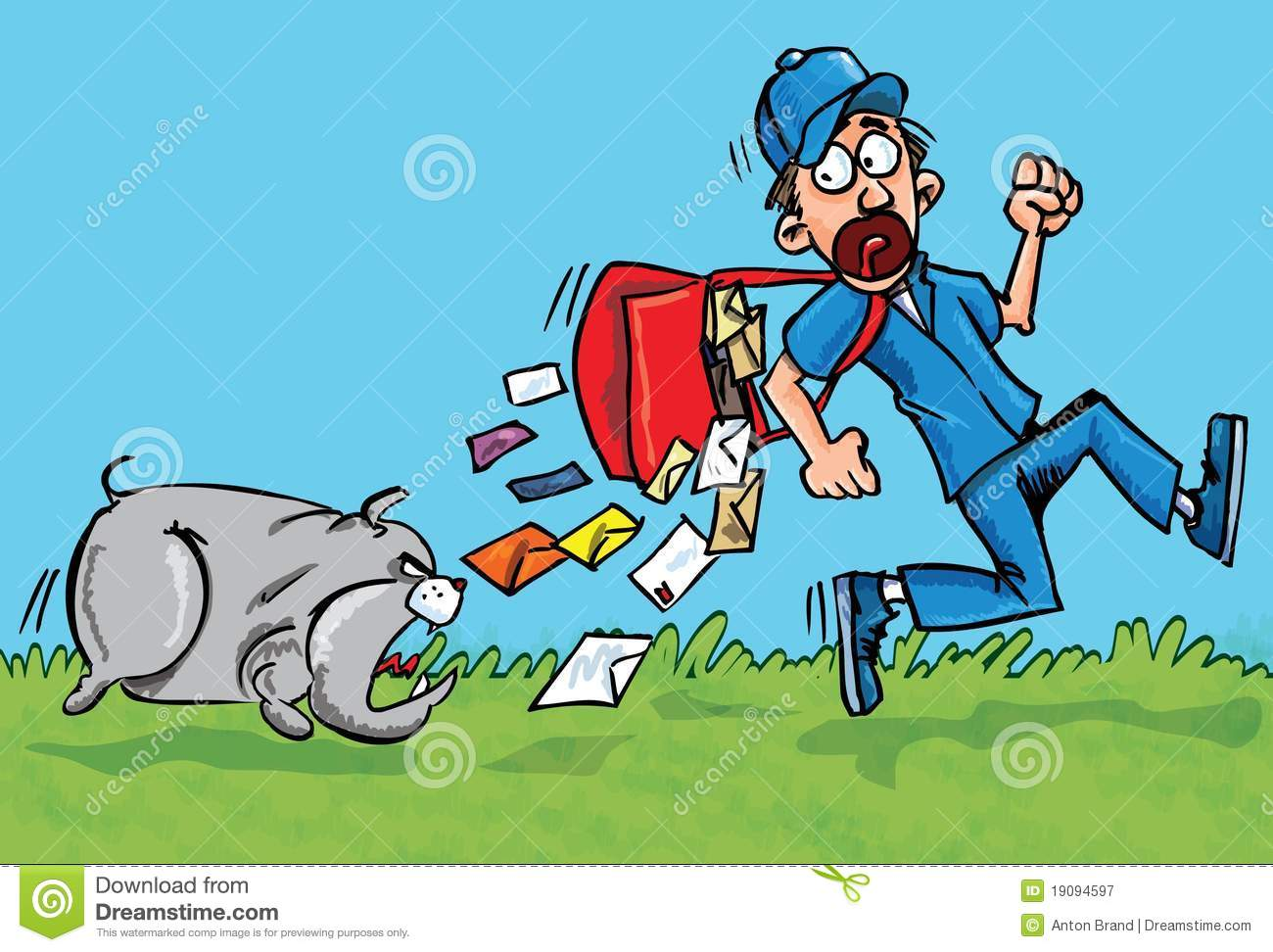 Royalty Free Stock Photography: Cartoon postman running away from a ...