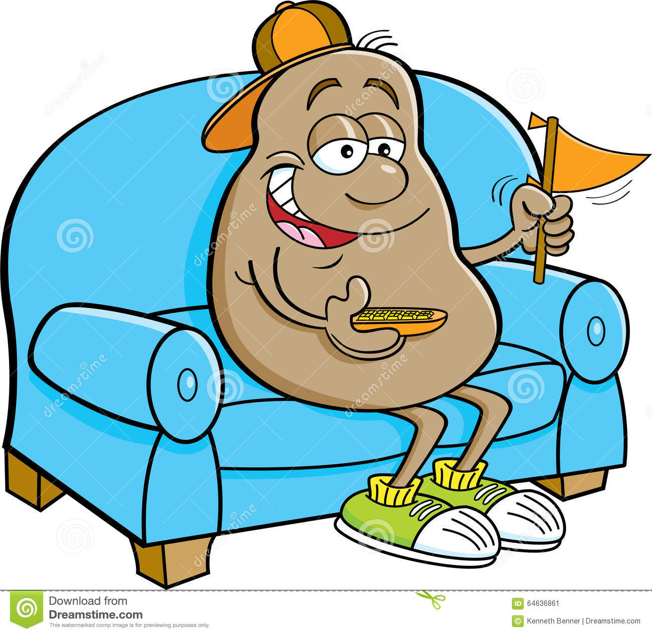 Cartoon Potato Sitting On A Couch And Holding A Pennant
