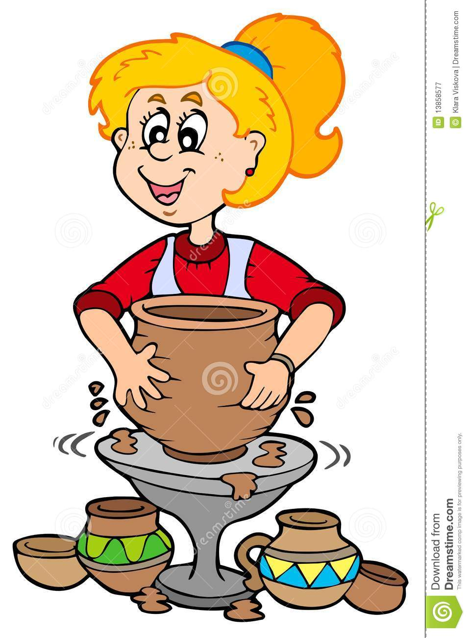Royalty Free Stock Photography Cartoon Pottery Girl Image13858577 on orange juice pitcher