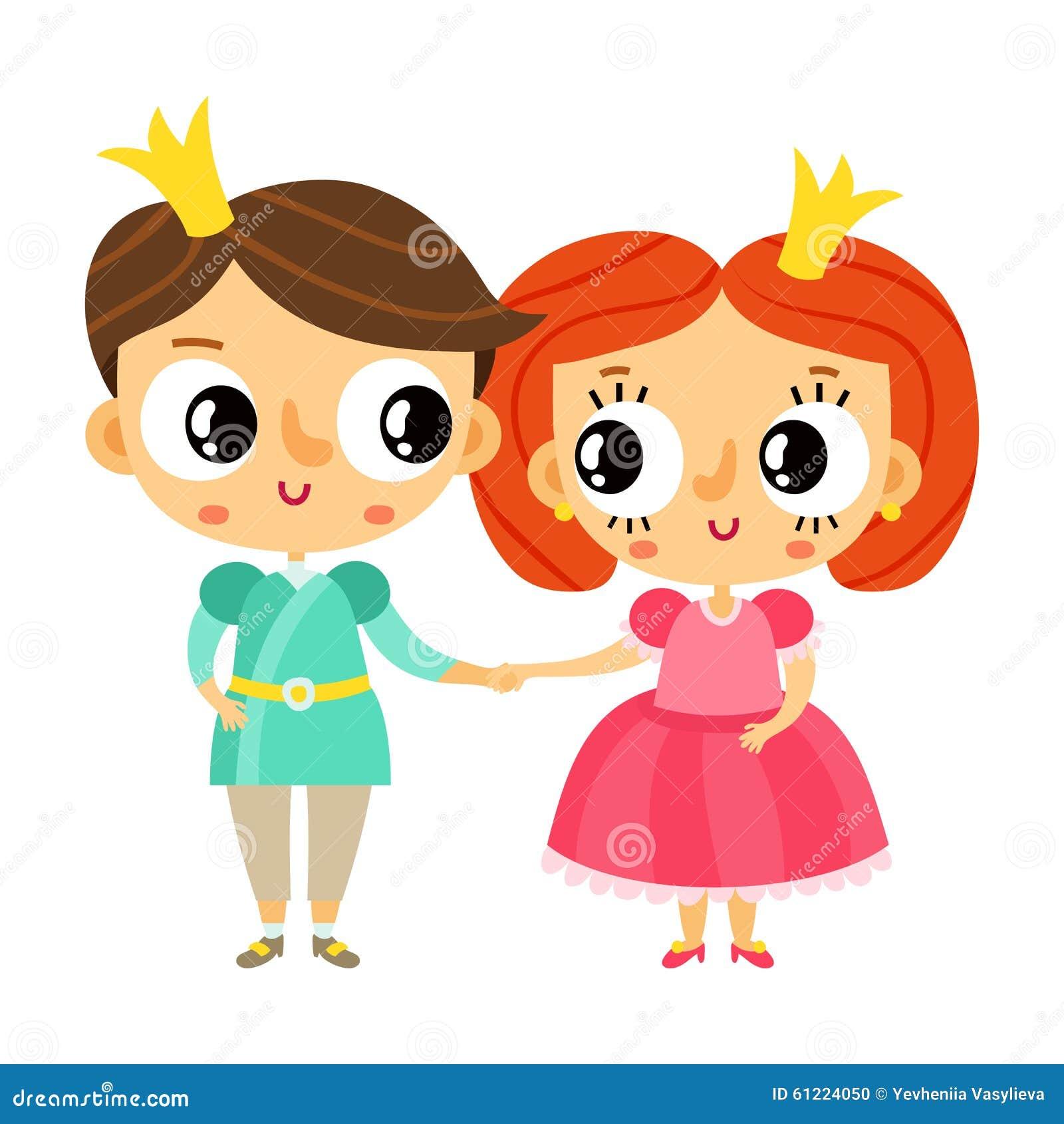 Cartoon Characters Holding Hands : Cartoon character royal princess stock illustration