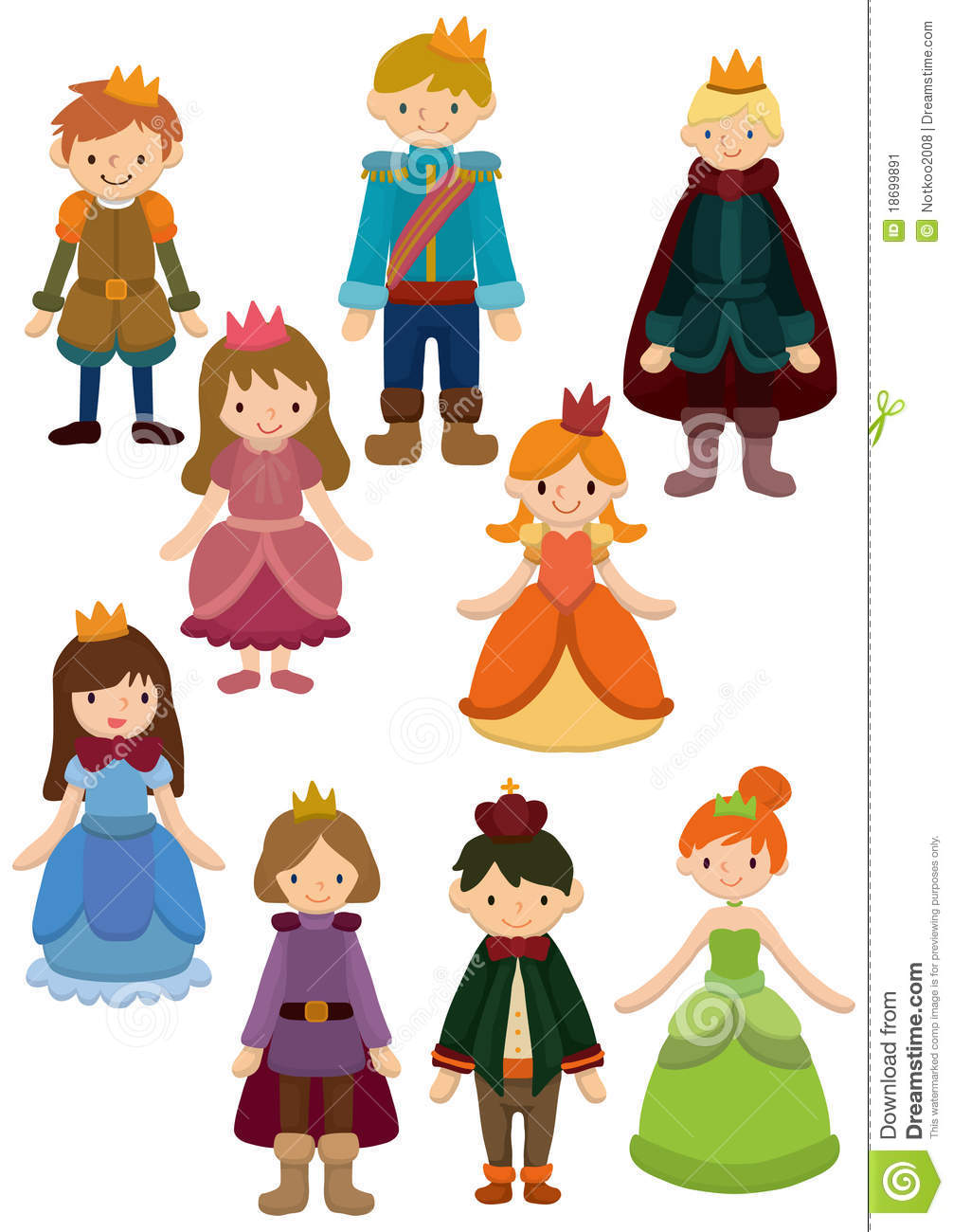 Stock Image: Cartoon Prince and Princess icon