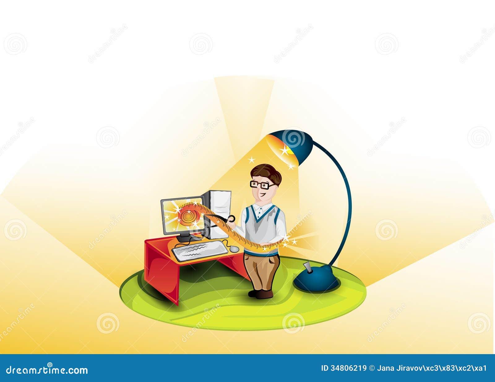 Cartoon Programmer Illustration Stock Illustration Illustration Of