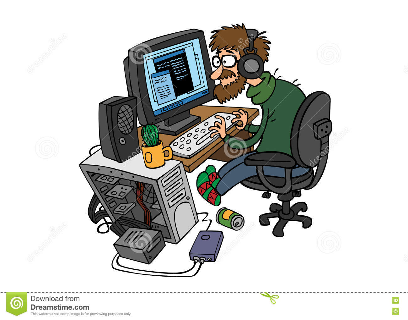 Cartoon Programmer Working Behind The Computer Stock Image
